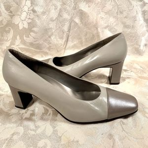 Bandolino Grey and Taupe Leather Square Toe Heels